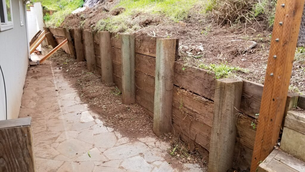 Demo old wood retaining wall bay area
