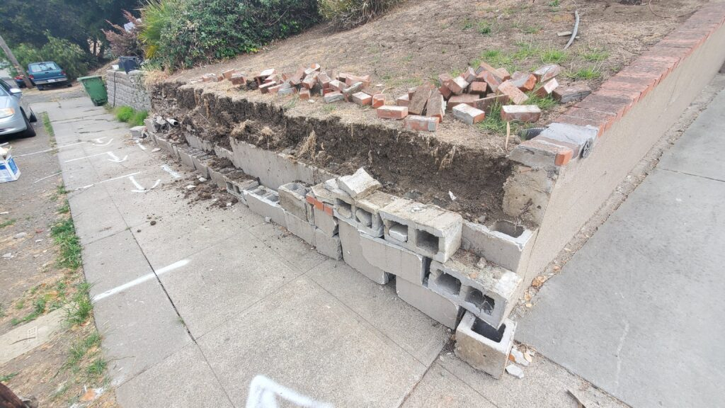Demo Concrete Retaining Wall Oakland