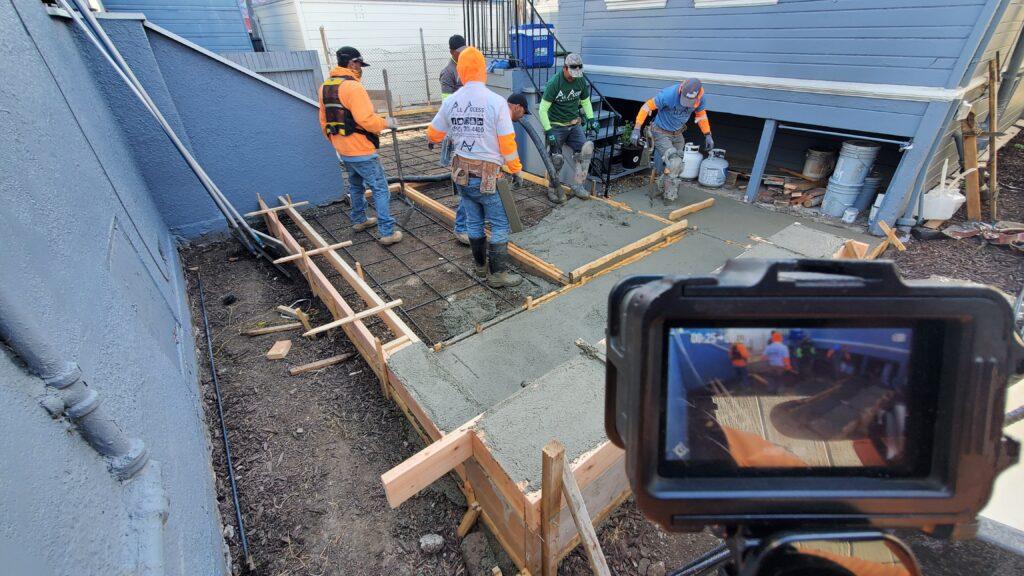 Emeryville concrete patio pour backyard