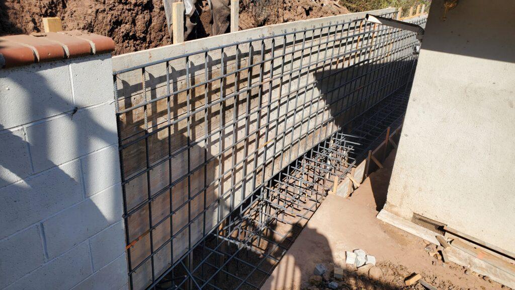 How to install rebar concrete retaining wall