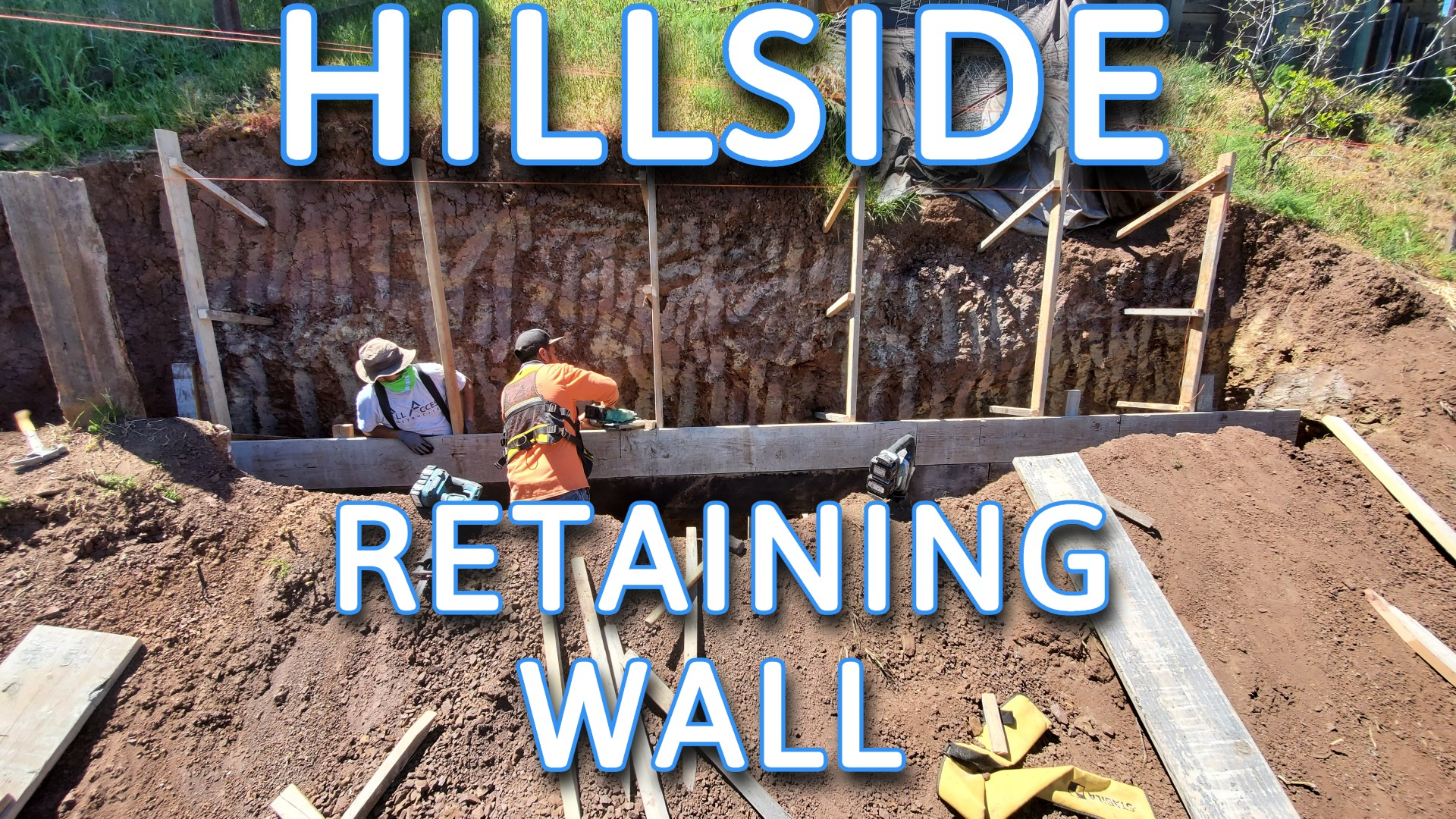 bay area hill side retaining wall