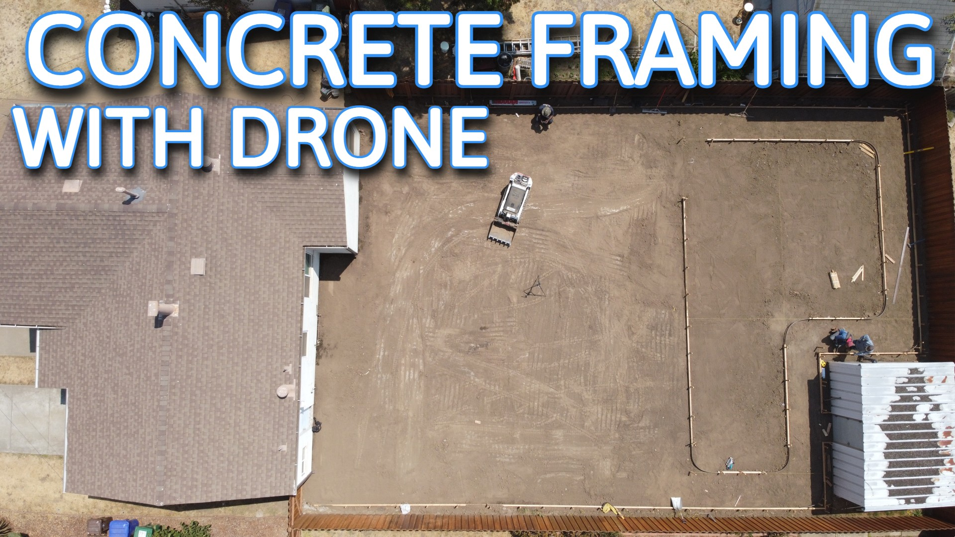 concrete patio framing with drone